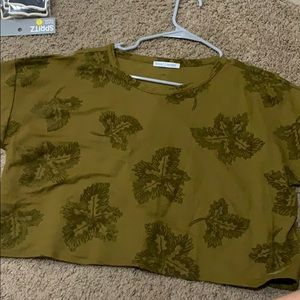 Zara Basics cropped green top